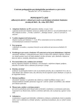 PONUKOVÝ LIST - CPPPaP Michalovce