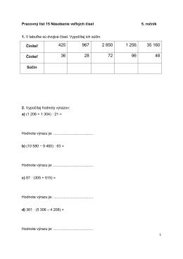 PL 15 - násobenie veľkých čísel