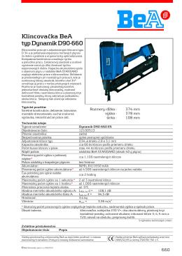 Klincovačka BeA typ Dynamik D90-660