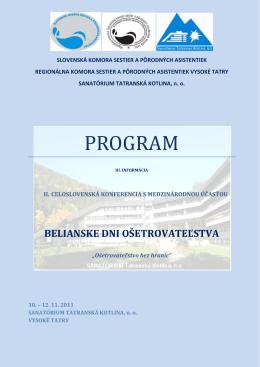 Program BDO II. - Regionálna komora sestier a pôrodných