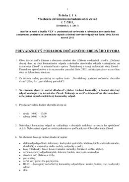 Prevádzkový poriadok Zberného dvora