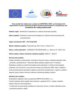Informácia o projekte - Chemosvit Environchem