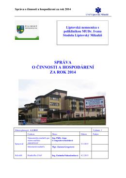správa o činnosti a hospodárení za rok 2014