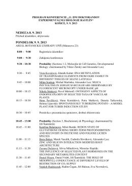 program konferencie - 13. konferencia experimentálnej biológie rastlín