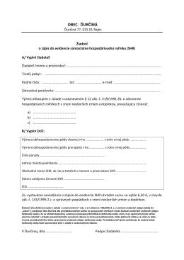 Žiadosť o zapísanie do evidencie samostatne