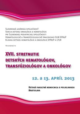 program 2013 - detskyhematoonkolog.sk