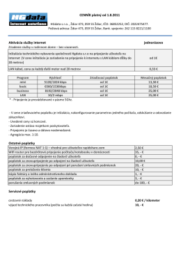 CENNÍK platný od 1.8.2011 Aktivácia služby internet