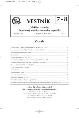 Vestník 7-8/2013 - Závodisko Bratislava