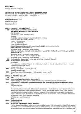Názov zákazky: Vodoinštalačné práce, servis, opravy
