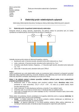 5 Elektrický prúd v elektrolytoch a plynoch