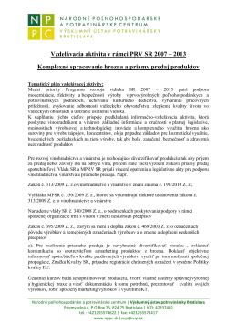 Vzdelávacia aktivita v rámci PRV SR 2007 – 2013