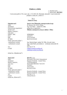 Zmluva o dielo - Správa ciest ŽSK