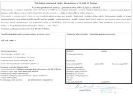 Základná umelecká škola, Bernolákova 26, 040 11 Košice