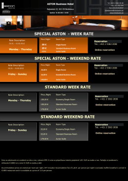 standard week rate - Aston Business Hotel