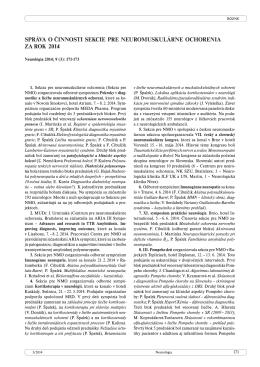 správa o činnosti sekcie pre neuromuskulárne ochorenia