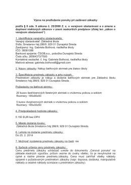 Výzva na predloženie ponuky šatnových skriniek 18.12.2013