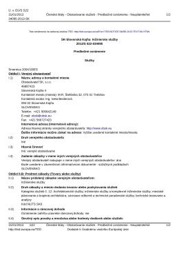 SK-Slovenská Kajňa: Inžinierske služby