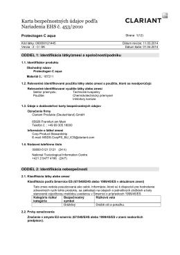 Karta bezpečnostných údajov podľa Nariadenia EHS č
