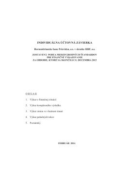 Individuálna účtovná závierka k 31. 12. 2013