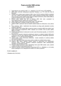 Popis pravidiel SMS súťaže o iphone 6
