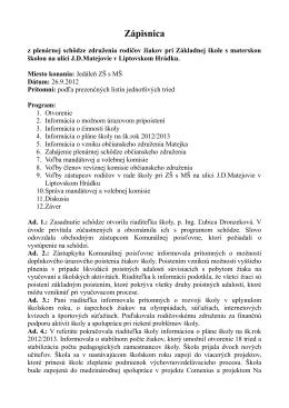 Zápisnica - Základná škola s materskou školou JD Matejovie