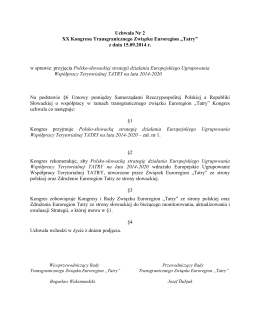 Uchwała Nr 2 XX Kongresu Transgranicznego Związku Euroregion