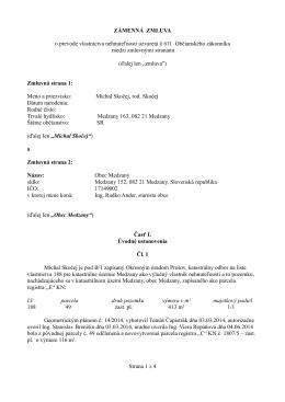 Zámenná zmluva č. 54/2014