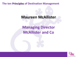 The ten Principles of Destination Management