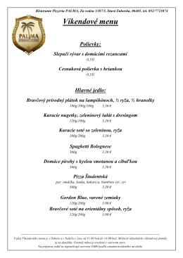 Víkendové menu
