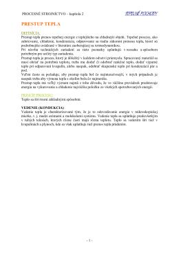 prestup tepla - Katedra chemických strojov a zariadení SjF STU v