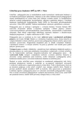 Učiteľská prax študentov DPŠ na SPU v Nitre