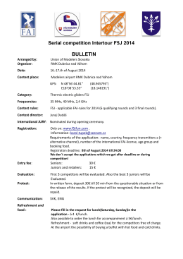 Serial competition Intertour F5J 2014 BULLETIN