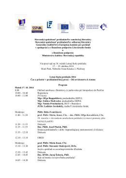 Program LŠP 2014 [pdf] - Slovenská spoločnosť prekladateľov