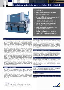 Synchrónne hydraulické ohraňovacie lisy CNC radu AD-R4