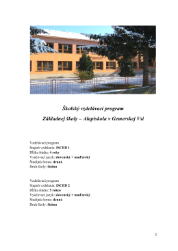 Vzdelávací program - Základná škola