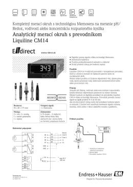 Analytický merací okruh s prevodníkom Liquiline CM14 - E