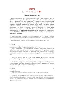 REKLAMAČNÝ PORIADOK 1. Spoločnosť livingIN, s.r.o. so sídlom