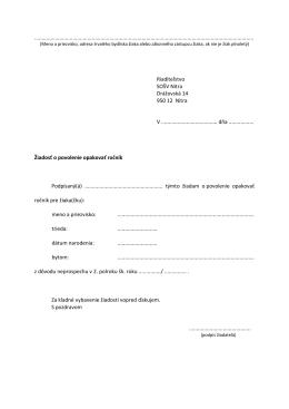 Žiadosť o povolenie opakovať ročník