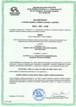 Certifikát vnútropodnikovej kontroly prostý betón