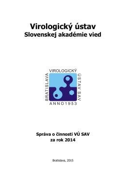Výročná správa Virologického ústavu SAV 2014 [PDF]