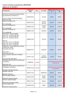 Cenník rôzneho príslušenstva BERNINA platný od 21.03.2011