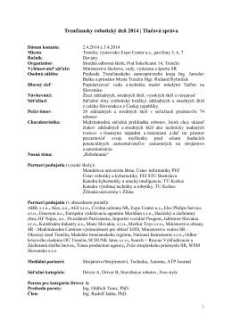 Trenčiansky robotický deň 2014 | Tlačová správa