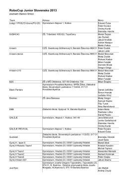 Zoznam členov tímov