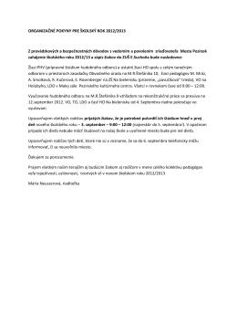 ORGANIZAČNÉ POKYNY PRE ŠKOLSKÝ ROK 2012/2013 Z