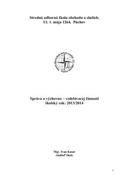 Správa o výchovno-vzdelávacej činnosti za školský rok 2013/2014