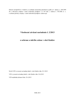 Všeobecné záväzné nariadenie č. 2/2013 o ochrane