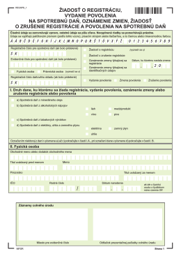 Žiadosť o registráciu, vydanie povolenia na spotrebnú daň