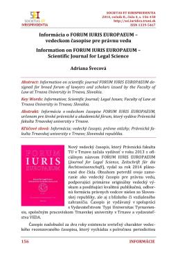 Informácia o FORUM IURIS EUROPAEUM