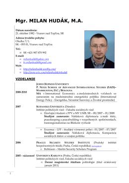 Mgr. MILAN HUDÁK, M.A. - Milan Hudak