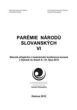 Parémie národů slovnských IV - Filozofická fakulta